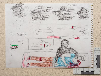 """Black clouds. A mother crying for her son, baby, and sister. She lost 3 family members."" Drawing by Syrian girl."