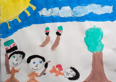 Painting by a child at the Syrian Friendship School in Gaziantep, photo by David Gross