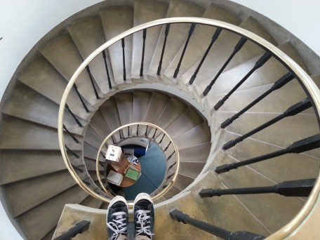Music Faculty Library: Standing at the top of the MFL spiral staircase
