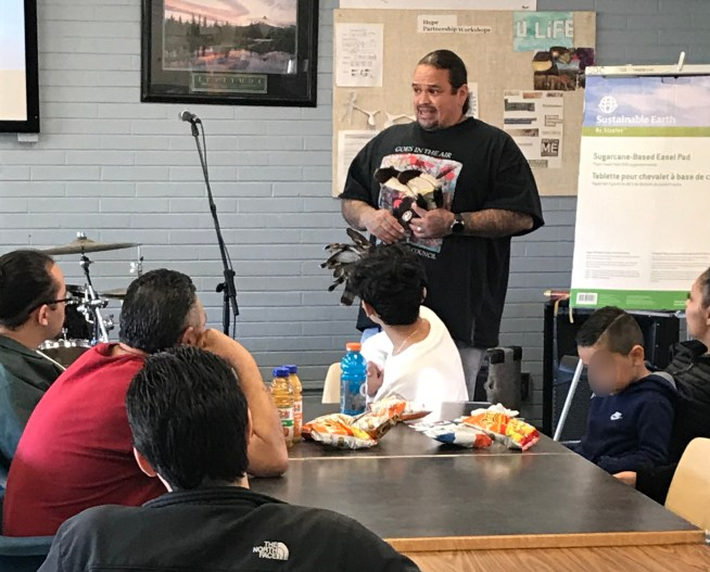 Shawn Hudson, a cultural services provider and guest at MacLaren, spoke with youth and families about Native American culture during the facility's Native American Heritage Month celebration Nov. 23.