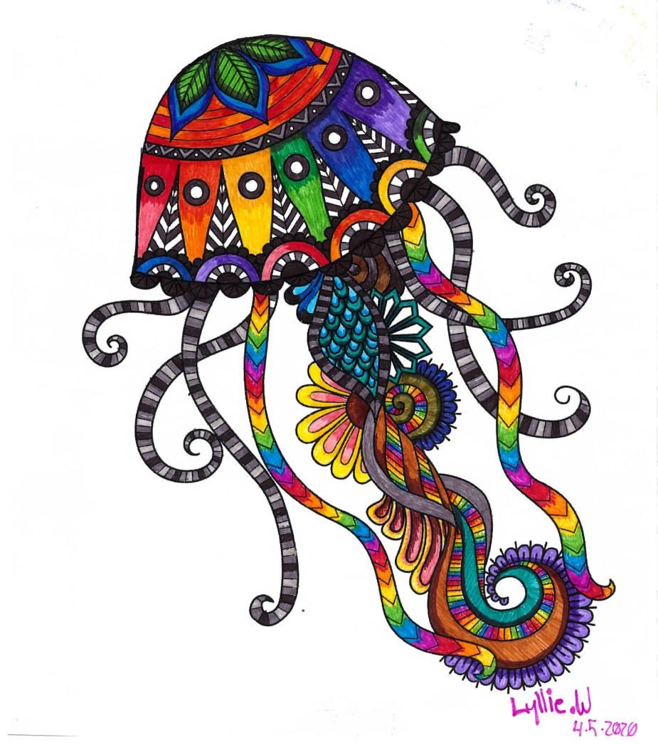 Rainbow-colored jellyfish