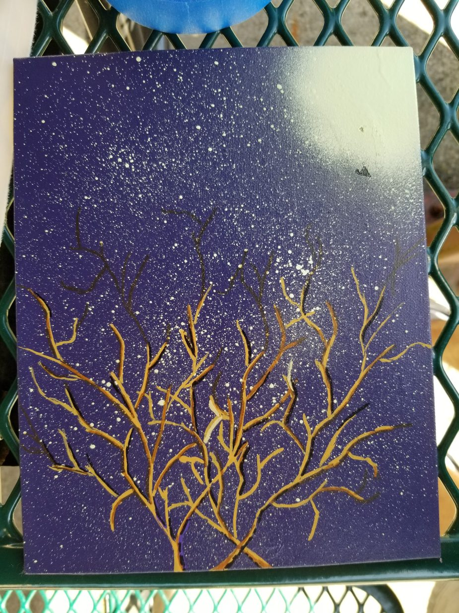 artwork of tree branches against night sky