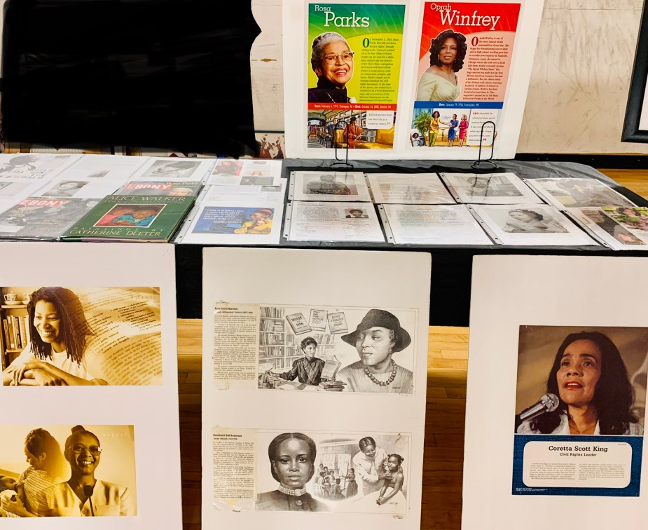 Images and displays from the museum. Images include Rosa Parks, Oprah Winfrey, Zora Neale Hurston, Coretta Scott King, and others.