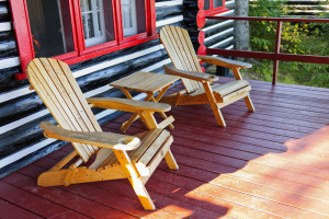 Two wooden chairs to relax on the porch of a cabin in Pigeon Forge