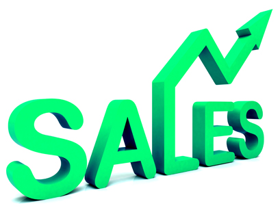 Sales Arrow Word Shows Business Or Commerce