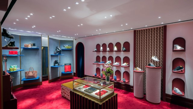 Image of sneakers on display at Christian Louboutin store in Hong Kong