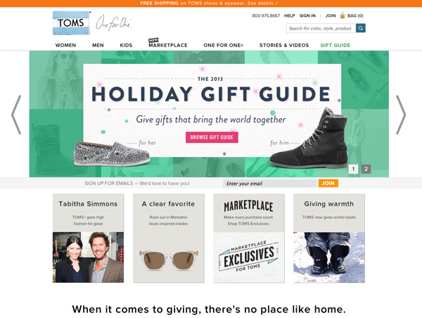 TOMS website shoes
