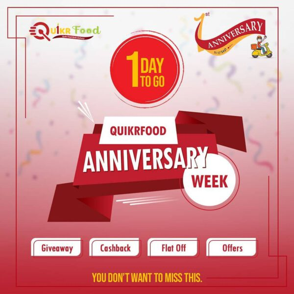 Quikrfood Celebrates First Anniversary Offering Great Giveaways and offers