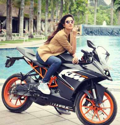 Nusrat Jahan with KTM Bike
