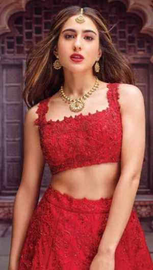 Sara Ali Khan Red color dress Picture