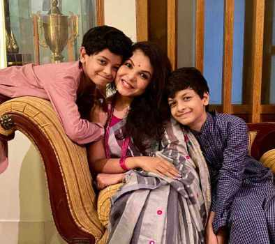 Meher Afroz Shaon with her Two son