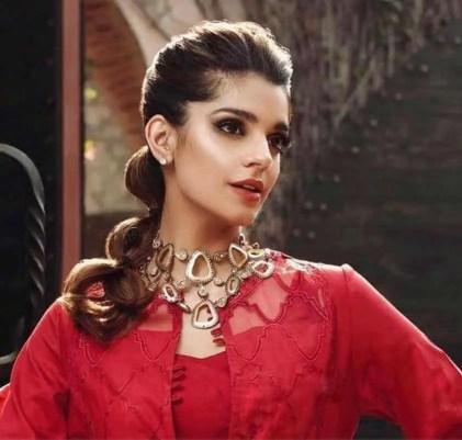 Sanam Saeed Red color dress Image