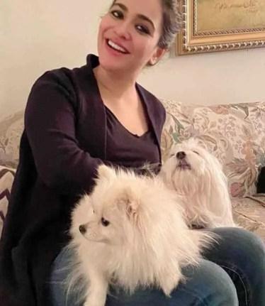Humaima Malick with Dog