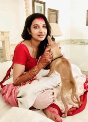 Subhashree Ganguly with Dog