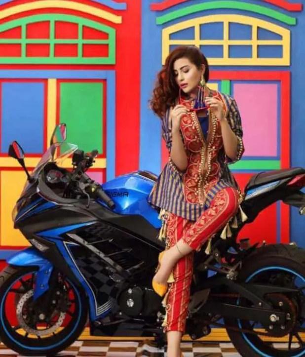 Sohai Ali Abro with Bike