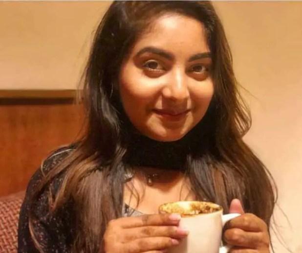 Nusrat Jahan Ontora eating Coffee