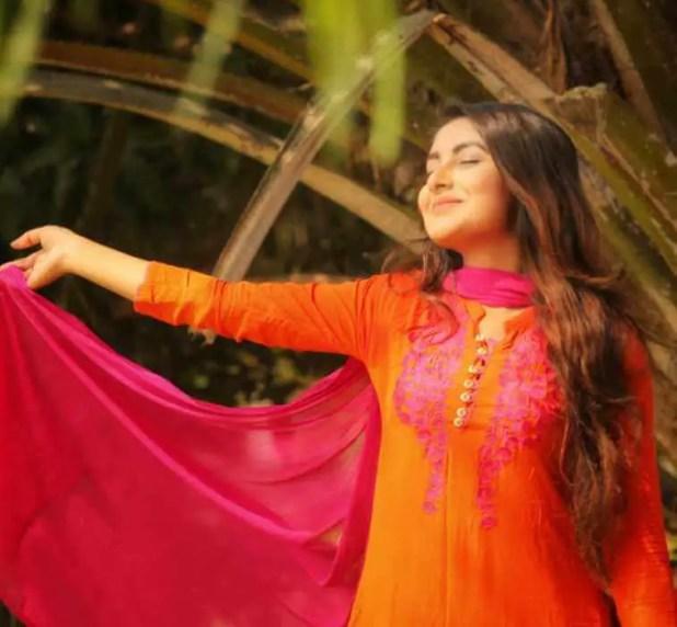 Nusrat Jahan Ontora with orange Color dress Pic