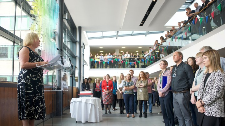 Staff gathering on day of 400 anniversary