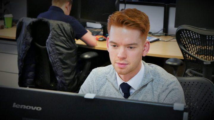 Scott working at desk