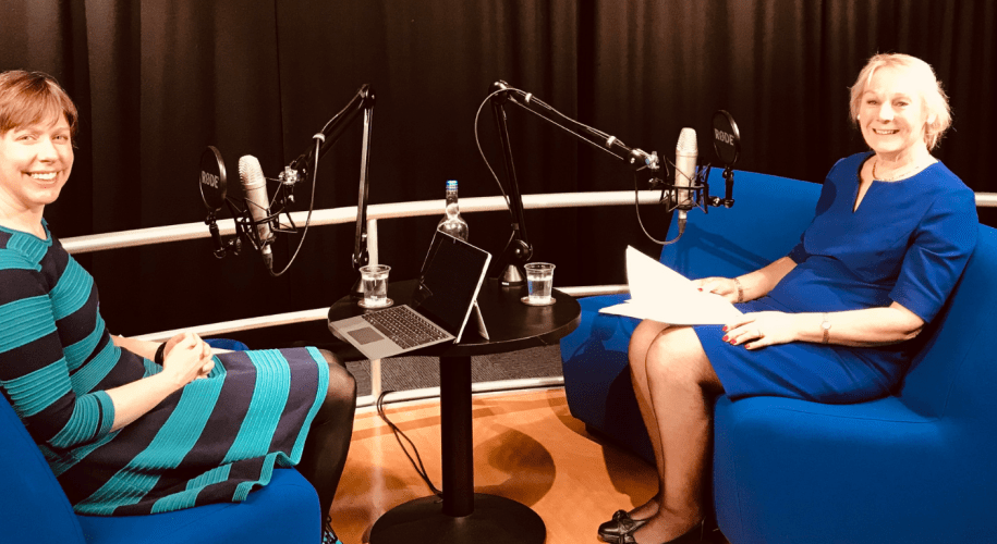 image of the keeper and alison filming a podcast