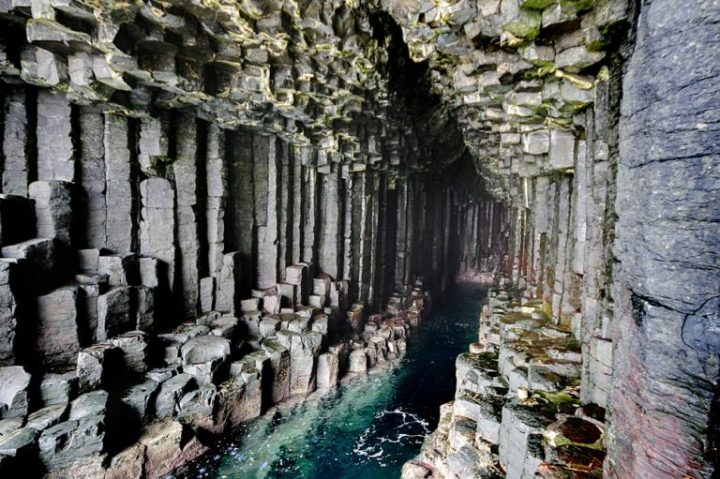 Hexagonal basalt columns on the Isle of Staffa, north of Mull