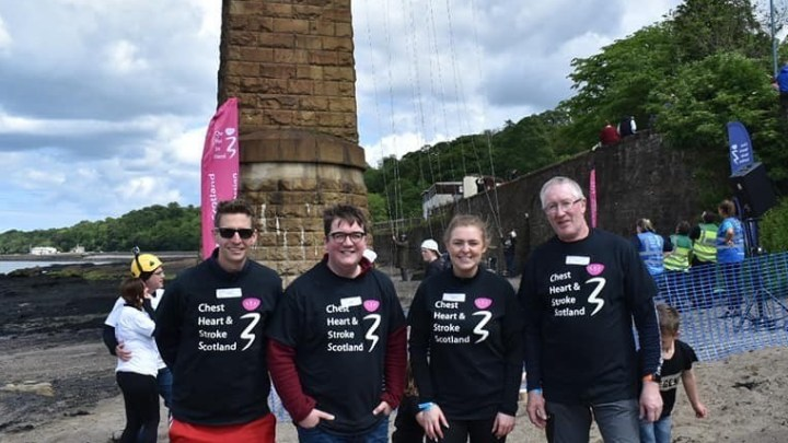 Picture of group back on the ground after completing abseil