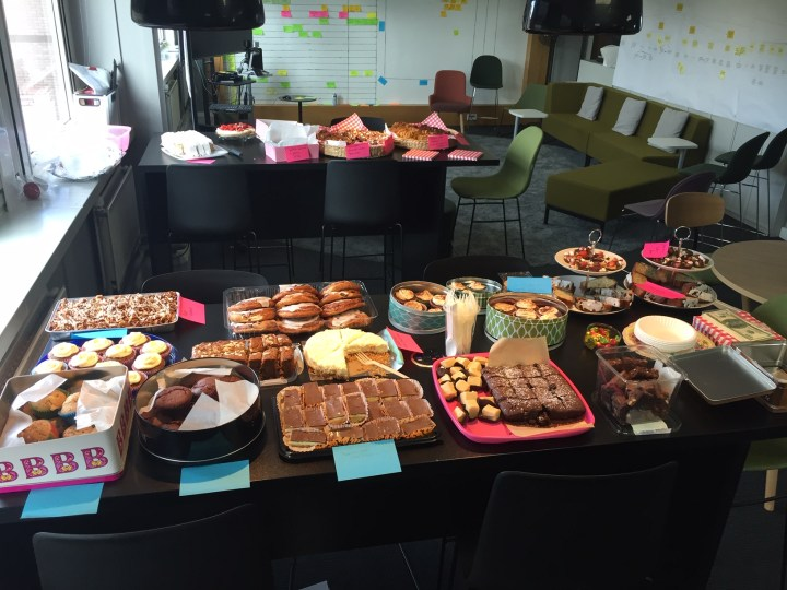 Cakes and homebaking as part of a bake sale for charity
