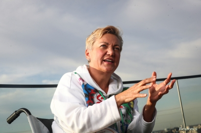 FILE - Valeria Gontareva, former chair of the National Bank of Ukraine, speaks during an interview in London, Britain, Sept. 14, 2019.