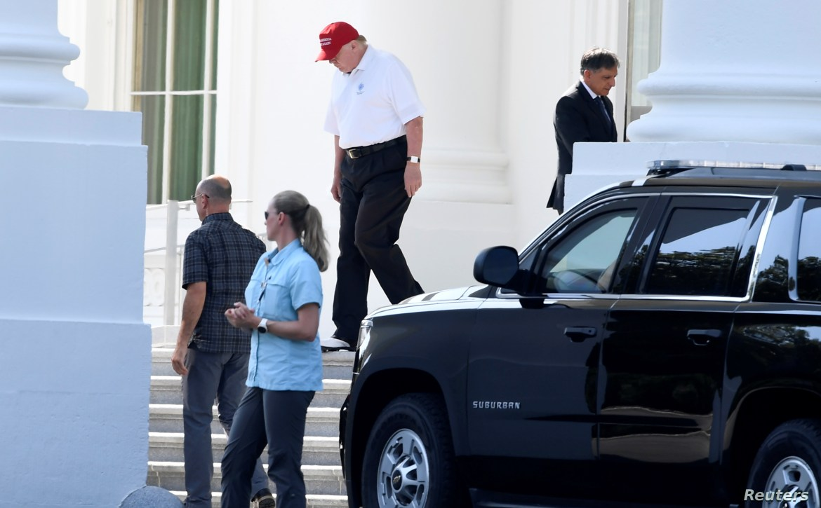 President Trump departs White House for trip to Trump National Golf Club