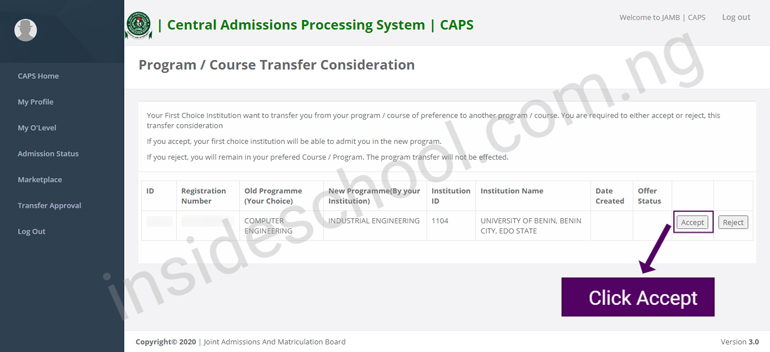 Accept Admission - JAMB CAPS Portal 2021: How to ACCEPT or REJECT Admission Offer