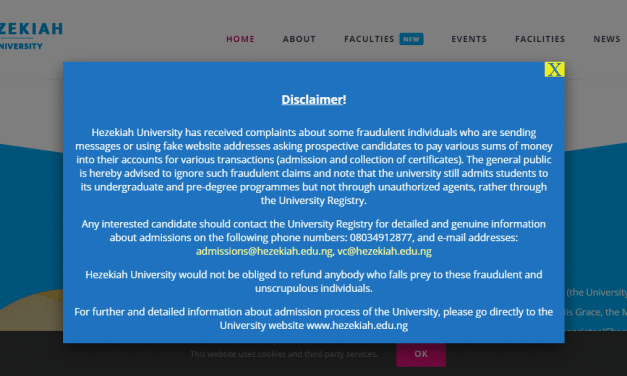 Hezekiah University Disclaimer On Admission and Collection of Certificates