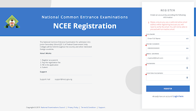 NCEE Portal 2 - NCEE 2020/2021 Registration Form for Unity Schools [Photos]