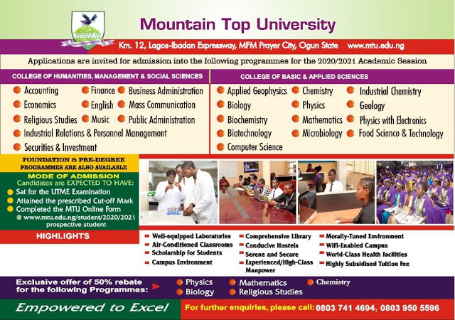 Mountain Top University Admission Form 2020 2021 insideschool - Mountain Top University Post-UTME / DE Screening Form 2020/2021 Announced