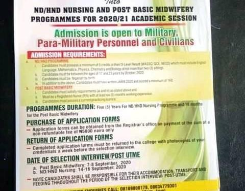 Nigerian Army College of Nursing Post-Basic Midwifery Admission Form for 2020/2021 Announced