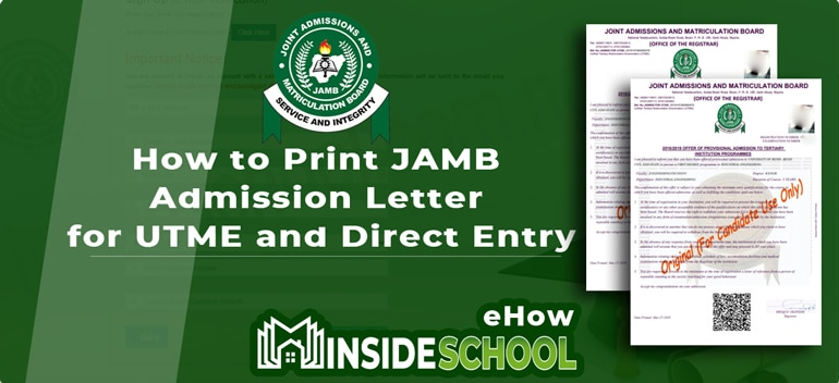 How to Print JAMB Admission Letter - How to Print JAMB Admission Letter for UTME and Direct Entry [2019 and Years Downward]