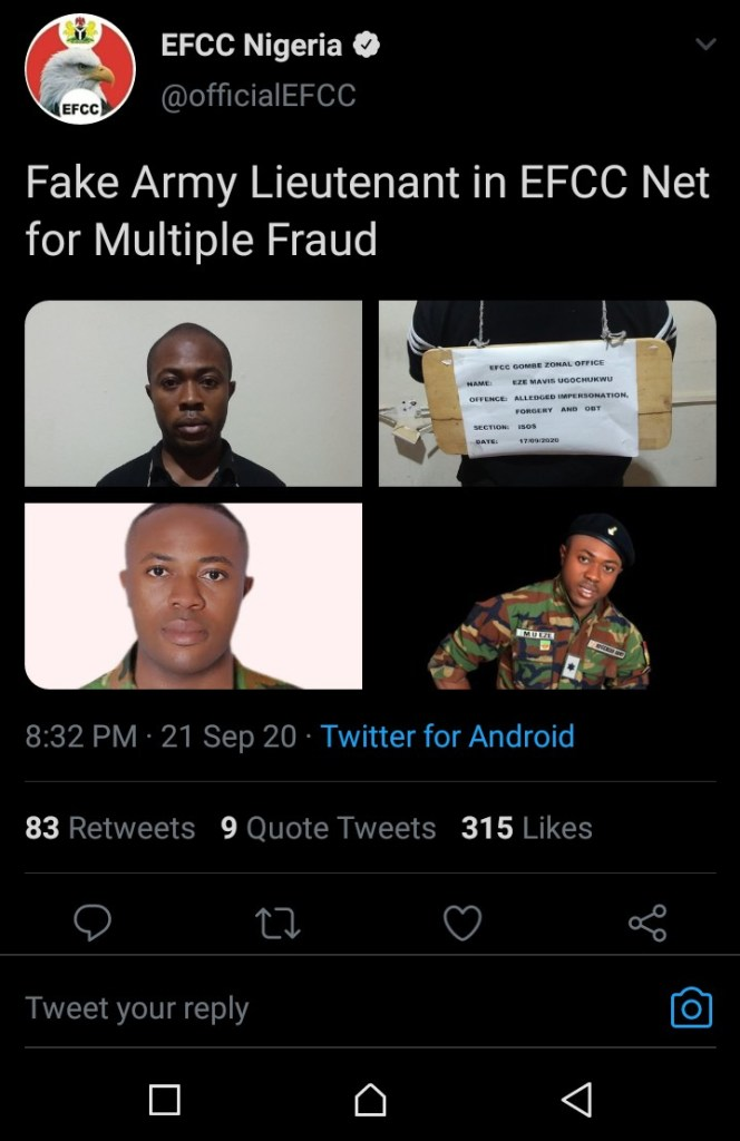 IMG 20200922 113512 946 664x1024 - Fraud: Polytechnic Student arrest by Nigerian army for posing as a lieutenant (photos)