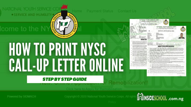 How to Print NYSC Call Up Letter Online  - How to Print NYSC Call Up Letter Online for 2021 [BATCH 'A']