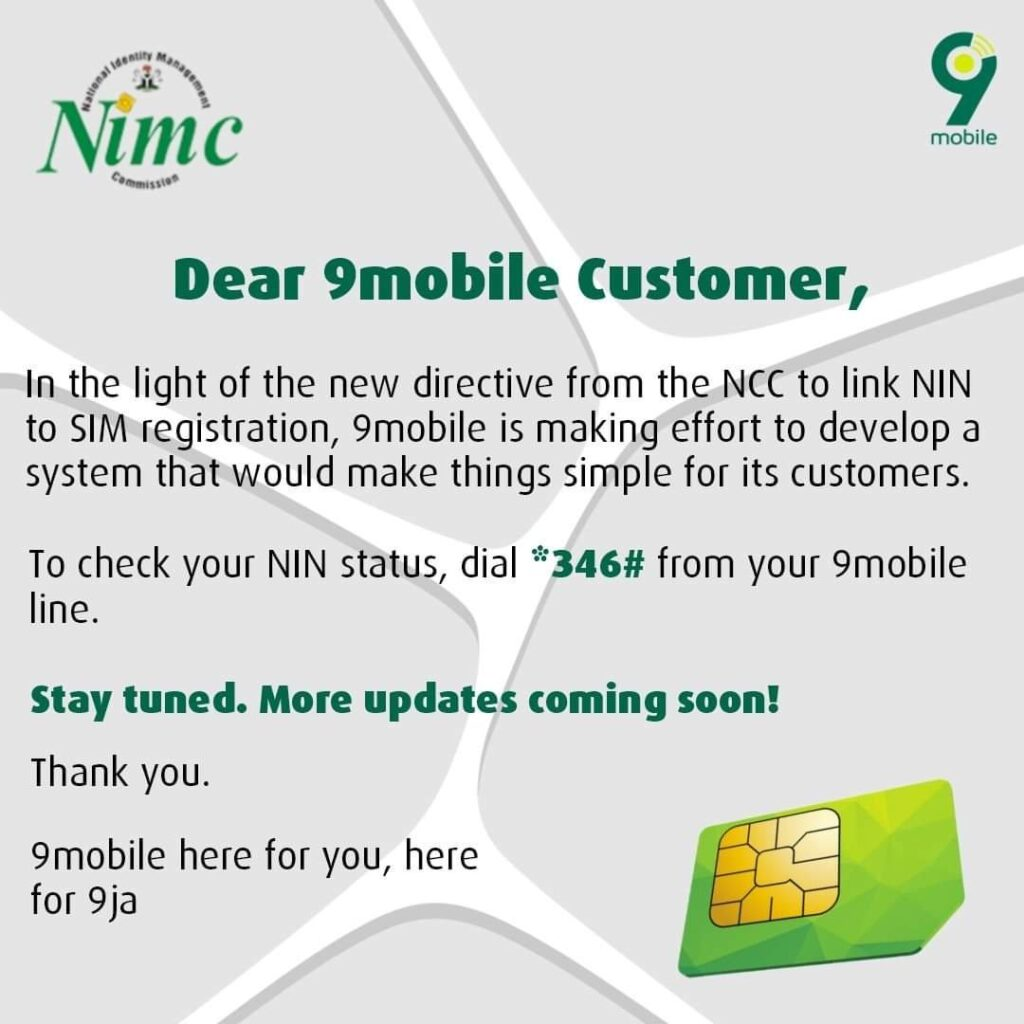 9MOBILE NIN 1024x1024 - How to link NIN to all sim card: How to check National Identification Number from your phone
