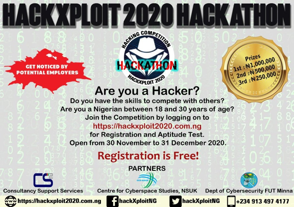 HackXploit Competition 2020 1024x722 - HackXploit Competition 2020 for Young Nigerian Hackers Up to N1.75 Million in Prizes