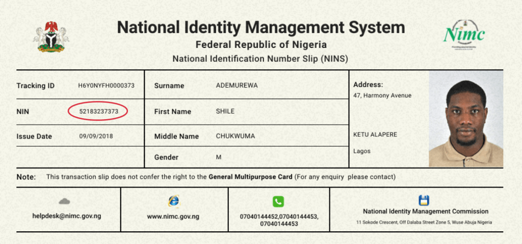 NIN slip 1 1024x479 - How to Apply for National Identity Number (NIN)
