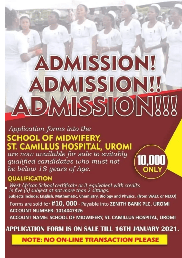 St. Camillus Hospital School of Midwifery form 2021 1 - St. Camillus Hospital Uromi School of Midwifery Form for 2021/2022 Academic Session