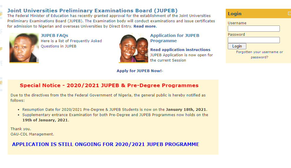 OAU JUPEB form - Obafemi Awolowo University (OAU) JUPEB Admission Form 2020/2021: See How you Can Get Admitted into 200 Level Directly  [UPDATED]