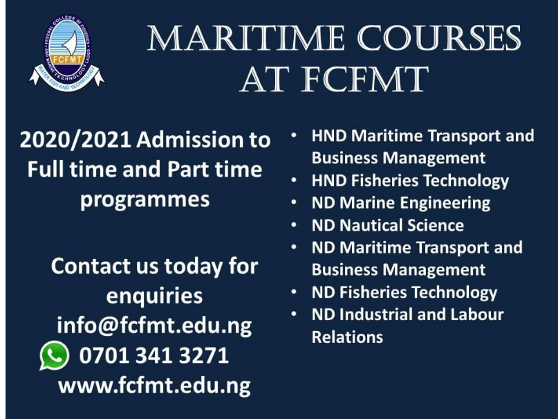 Federal College of Fisheries and Marine Technology Admission Form 1 - Federal College of Fisheries and Marine Technology (FCFMT) Admission Form for 2020/2021 Academic Session | Short Courses, ND & HND