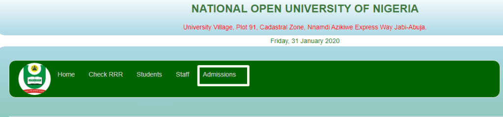 NOUN Admission Portal Home Page 1024x239 - How to Apply For National Open University Of Nigeria (NOUN) Admission Form 2021