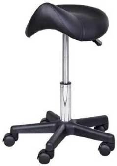 HomCom Adjustable Hydraulic Rolling Faux Leather Saddle Stool