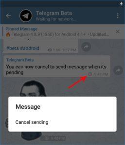 telegram 4.8.10 cancella messaggio