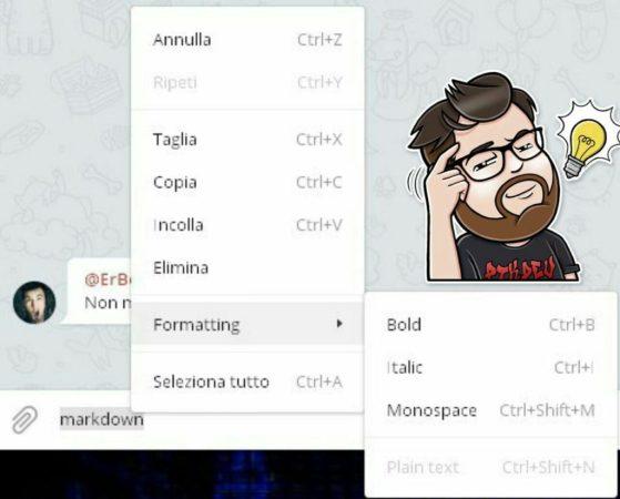 telegram desktop 1.3 formattazione testo menu scelta rapida