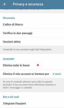Telegram 4.9 elimina messaggi bozze