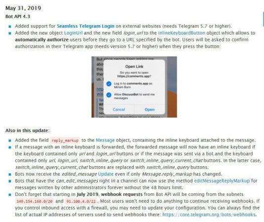 Telegram 5.7 per android e ios aggiornamento api