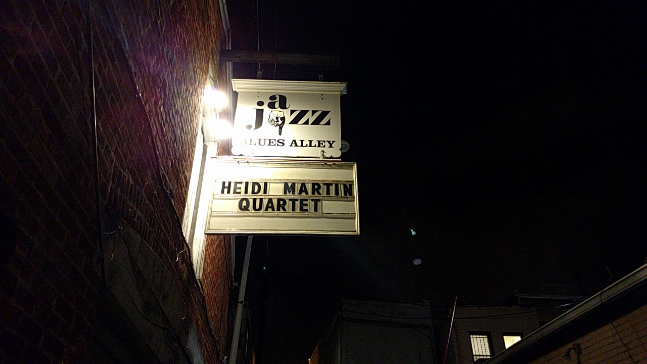 """A brick exterior is to the left, and a night sky is to the right. In the bottom right-hand corner, there are windows and a roof. In the center are two signs. The one on top reads """"Jazz Blues Alley"""" with a finger pointing downwards. The lower sign reads """"Heidi Martin Quartet"""". The signs are white, the writing is in black. Two floodlights light up the sign from the left."""
